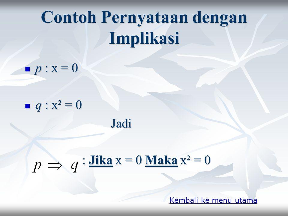 Contoh Pernyataan Dengan Konjungsi ► p : 9 adalah bilangan ganjil ► q : 9 = 3 x 3 Jadi Jadi p Λ q : 9 adalah bilangan ganjil dan 9 = 3 x 3 Kembali ke