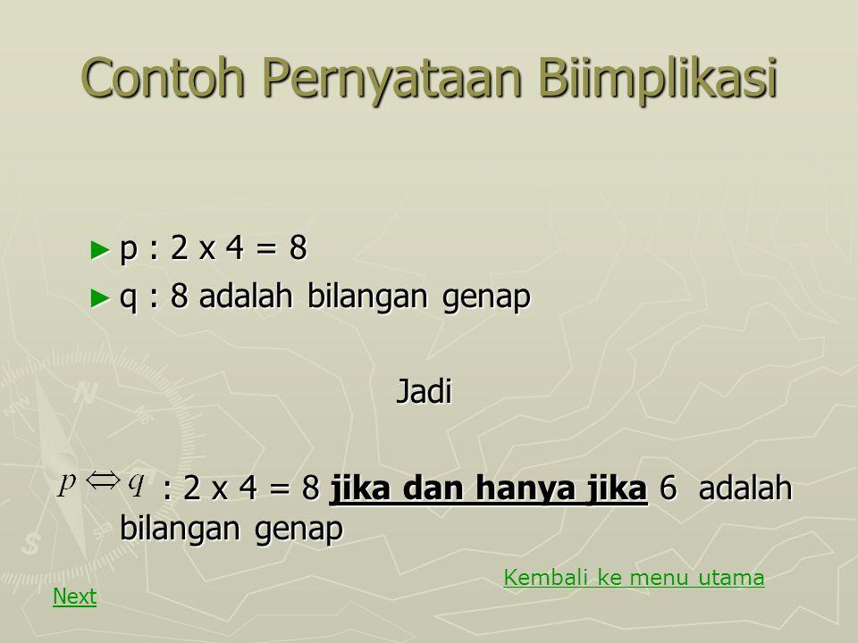 Contoh Pernyataan dengan Implikasi p : x = 0 p : x = 0 q : x² = 0 q : x² = 0Jadi : Jika x = 0 Maka x² = 0 : Jika x = 0 Maka x² = 0 Kembali ke menu uta