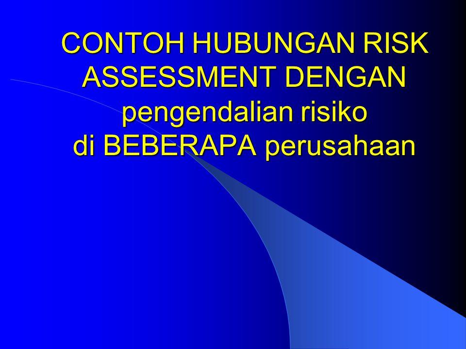 CONTOH HUBUNGAN RISK ASSESSMENT DENGAN pengendalian risiko di BEBERAPA perusahaan