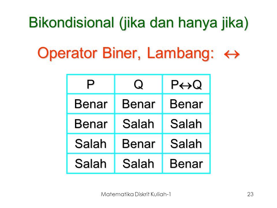 Matematika Diskrit Kuliah-123 Bikondisional (jika dan hanya jika) Operator Biner, Lambang:  PQ PQPQPQPQ BenarBenarBenar BenarSalahSalah SalahBena
