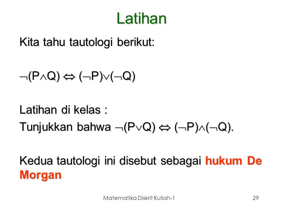 Matematika Diskrit Kuliah-129 Latihan Kita tahu tautologi berikut:  (P  Q)  (  P)  (  Q) Latihan di kelas : Tunjukkan bahwa  (P  Q)  (  P) 