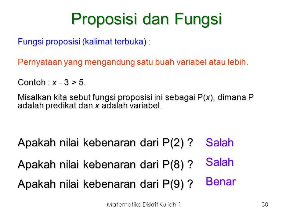Matematika Diskrit Kuliah-130 Proposisi dan Fungsi Fungsi proposisi (kalimat terbuka) : Pernyataan yang mengandung satu buah variabel atau lebih. Cont
