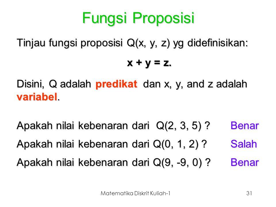 Matematika Diskrit Kuliah-131 Fungsi Proposisi Tinjau fungsi proposisi Q(x, y, z) yg didefinisikan: x + y = z. Disini, Q adalah predikat dan x, y, and