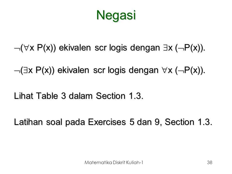 Matematika Diskrit Kuliah-138 Negasi  (  x P(x)) ekivalen scr logis dengan  x (  P(x)).  (  x P(x)) ekivalen scr logis dengan  x (  P(x)). Lih