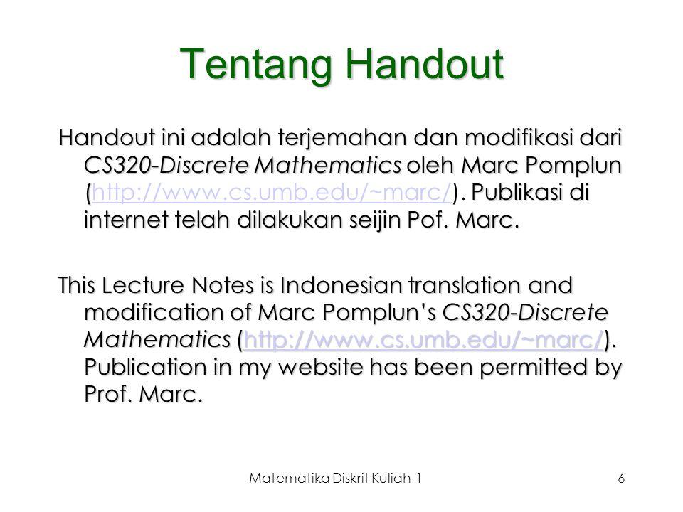Matematika Diskrit Kuliah-17 Mengapa matematika diskrit .