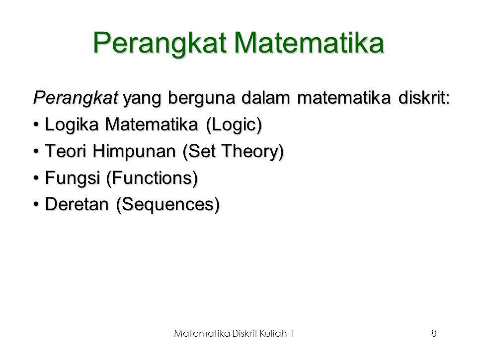 Matematika Diskrit Kuliah-18 Perangkat Matematika Perangkat yang berguna dalam matematika diskrit: Logika Matematika (Logic)Logika Matematika (Logic)