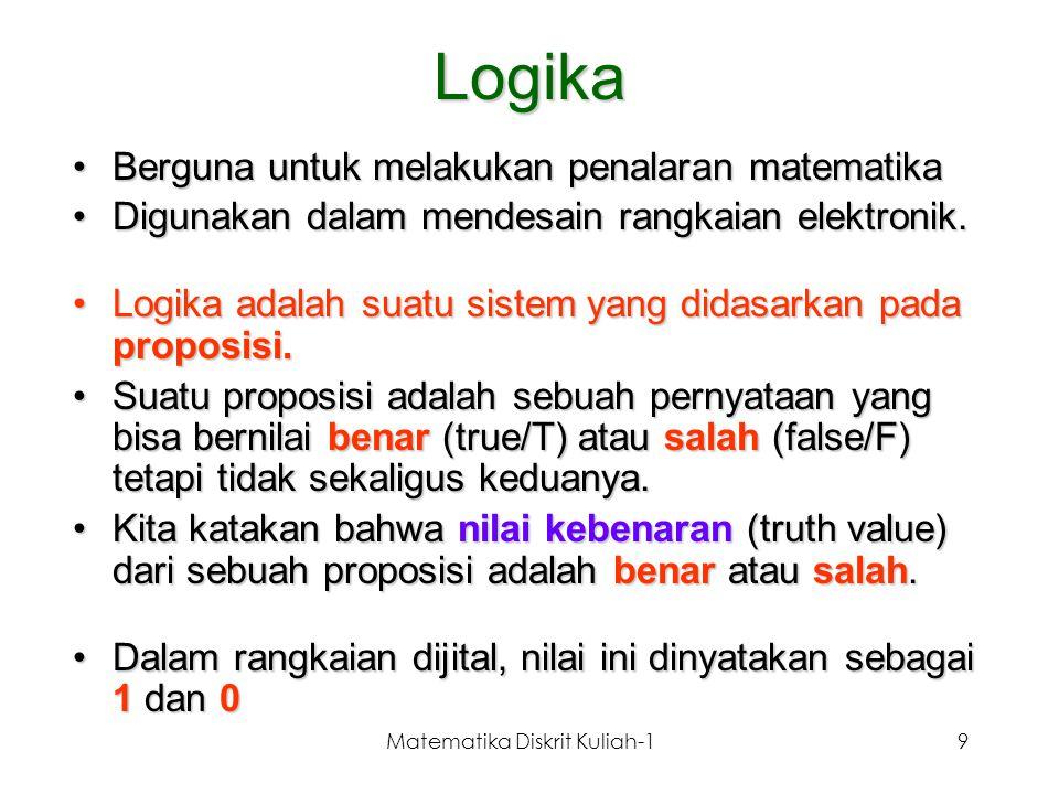 Matematika Diskrit Kuliah-19 Logika Berguna untuk melakukan penalaran matematikaBerguna untuk melakukan penalaran matematika Digunakan dalam mendesain