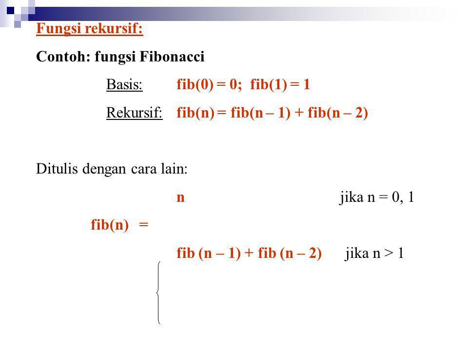 Fungsi rekursif: Contoh: fungsi Fibonacci Basis: fib(0) = 0; fib(1) = 1 Rekursif:fib(n) = fib(n – 1) + fib(n – 2) Ditulis dengan cara lain: n jika n =