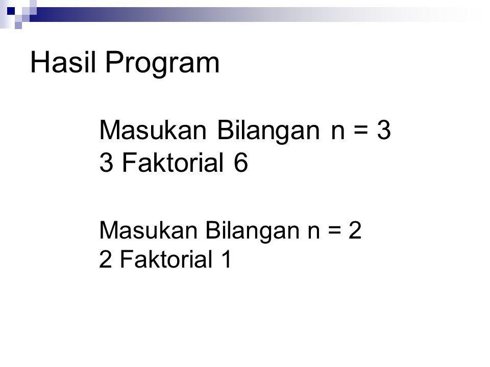 Hasil Program Masukan Bilangan n = 3 3 Faktorial 6 Masukan Bilangan n = 2 2 Faktorial 1