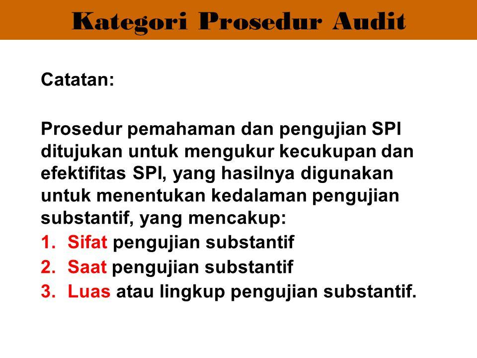 Catatan: Prosedur pemahaman dan pengujian SPI ditujukan untuk mengukur kecukupan dan efektifitas SPI, yang hasilnya digunakan untuk menentukan kedalam