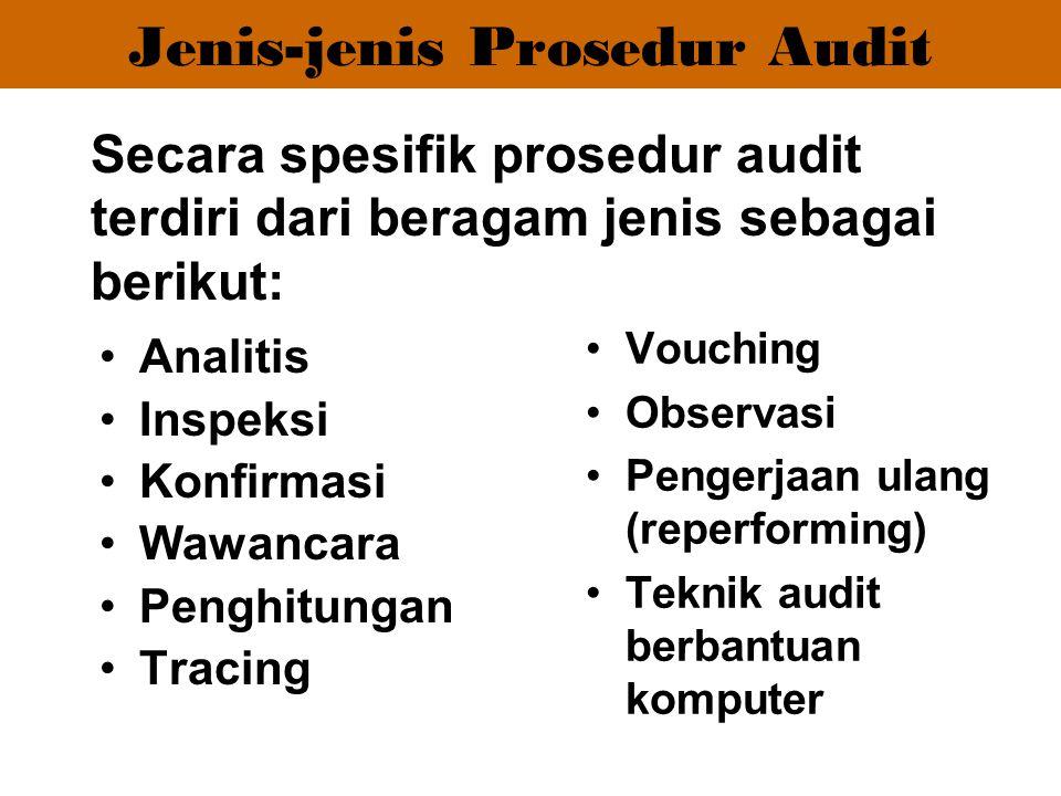 Analitis Inspeksi Konfirmasi Wawancara Penghitungan Tracing Vouching Observasi Pengerjaan ulang (reperforming) Teknik audit berbantuan komputer Secara