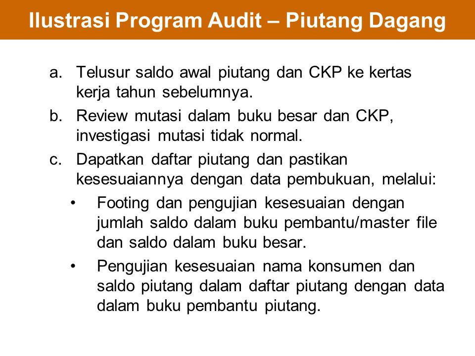 Ilustrasi Program Audit – Piutang Dagang a.Telusur saldo awal piutang dan CKP ke kertas kerja tahun sebelumnya. b.Review mutasi dalam buku besar dan C