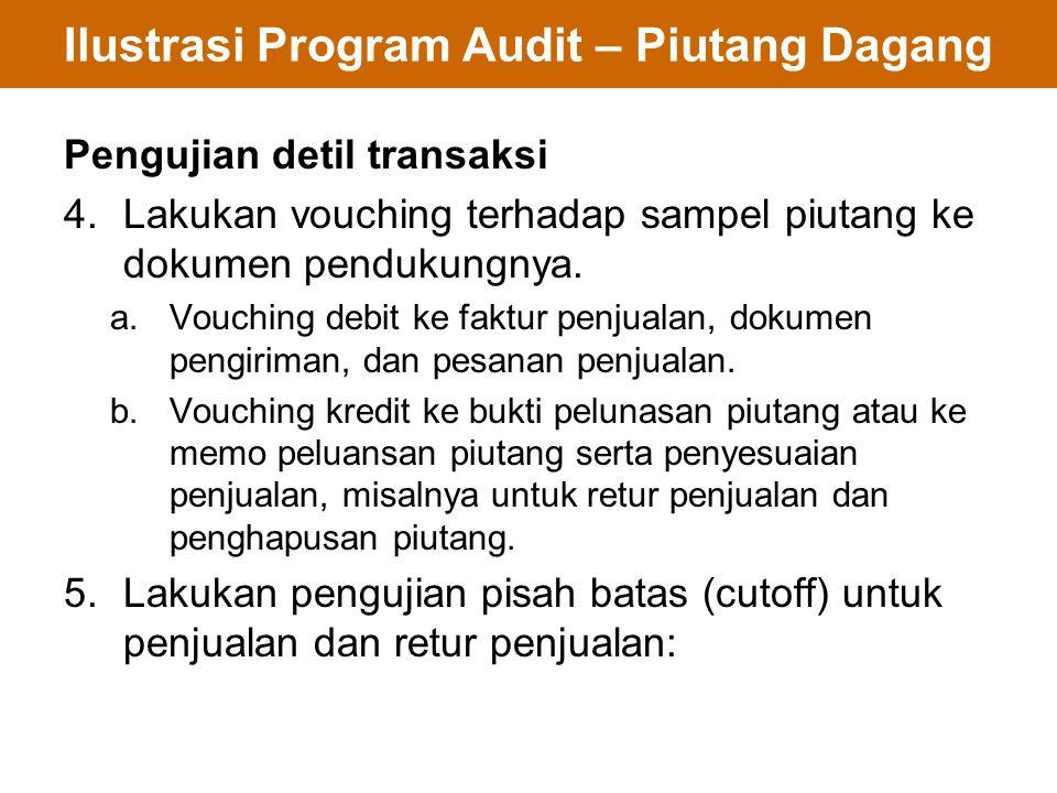 Ilustrasi Program Audit – Piutang Dagang Pengujian detil transaksi 4.Lakukan vouching terhadap sampel piutang ke dokumen pendukungnya. a.Vouching debi