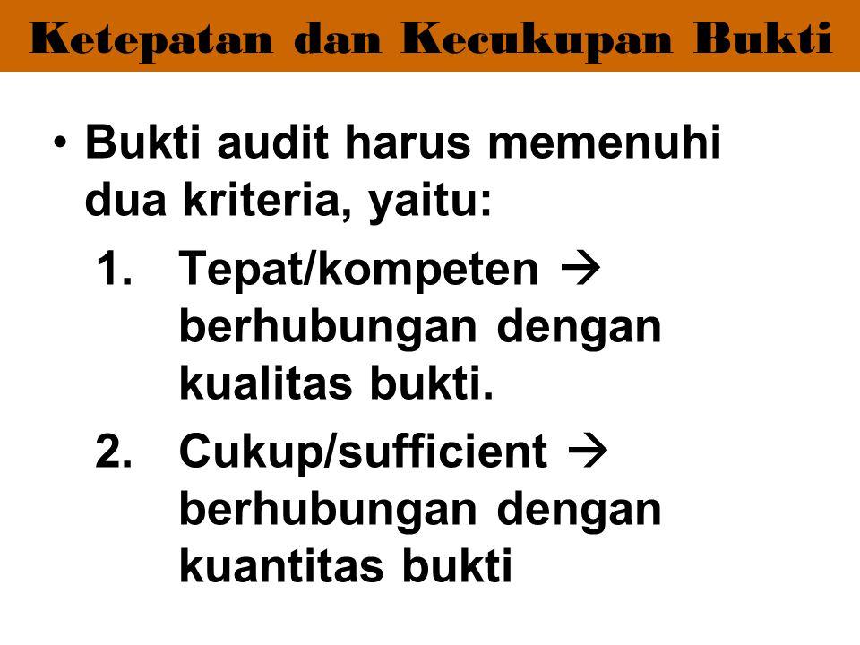 Ketepatan dan Kecukupan Bukti Bukti audit harus memenuhi dua kriteria, yaitu: 1.Tepat/kompeten  berhubungan dengan kualitas bukti. 2.Cukup/sufficient