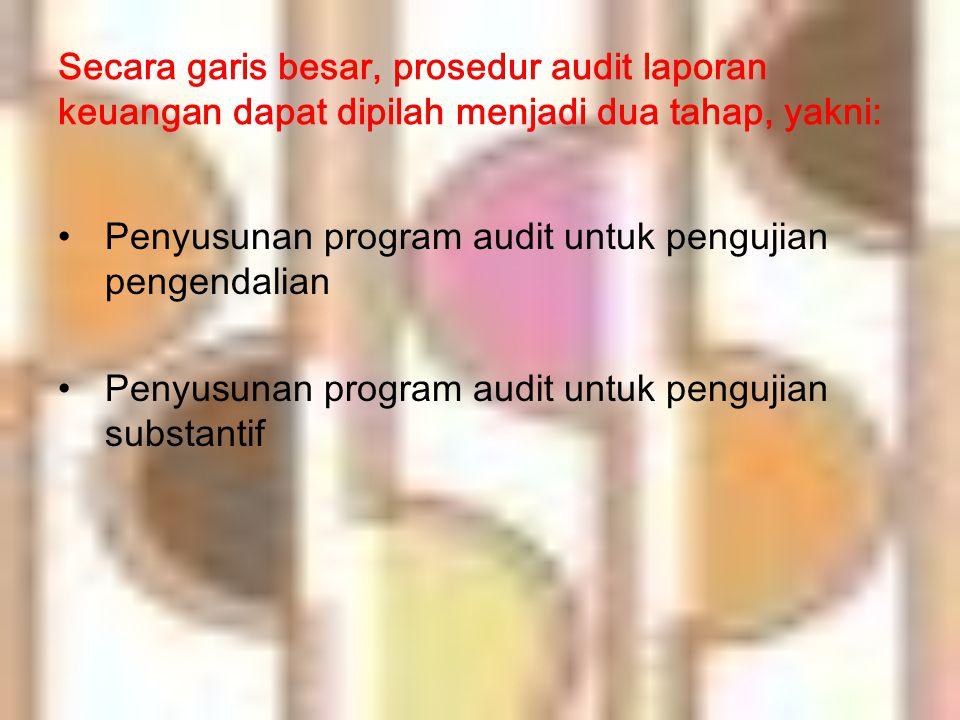 PENYUSUNAN PROGRAM AUDIT UNTUK PENGUJIAN PENGENDALIAN  tujuan utama pembelajaran ini adalah agar mahasiswa dapat merancang program audit untuk pengujian pengendalian.