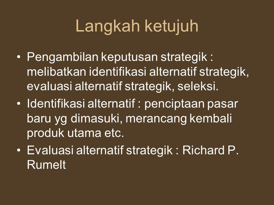 Langkah ketujuh Pengambilan keputusan strategik : melibatkan identifikasi alternatif strategik, evaluasi alternatif strategik, seleksi. Identifikasi a