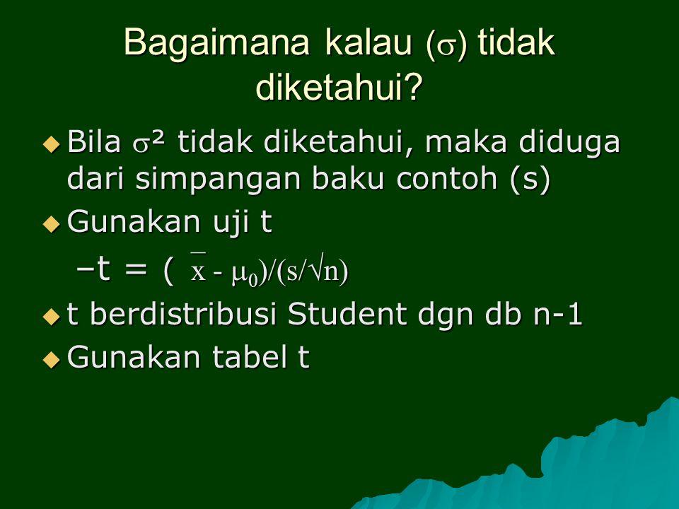 Bagaimana kalau (  ) tidak diketahui?  Bila ² tidak diketahui, maka diduga dari simpangan baku contoh (s)  Gunakan uji t –t = ( x -  0 )/(s/  n