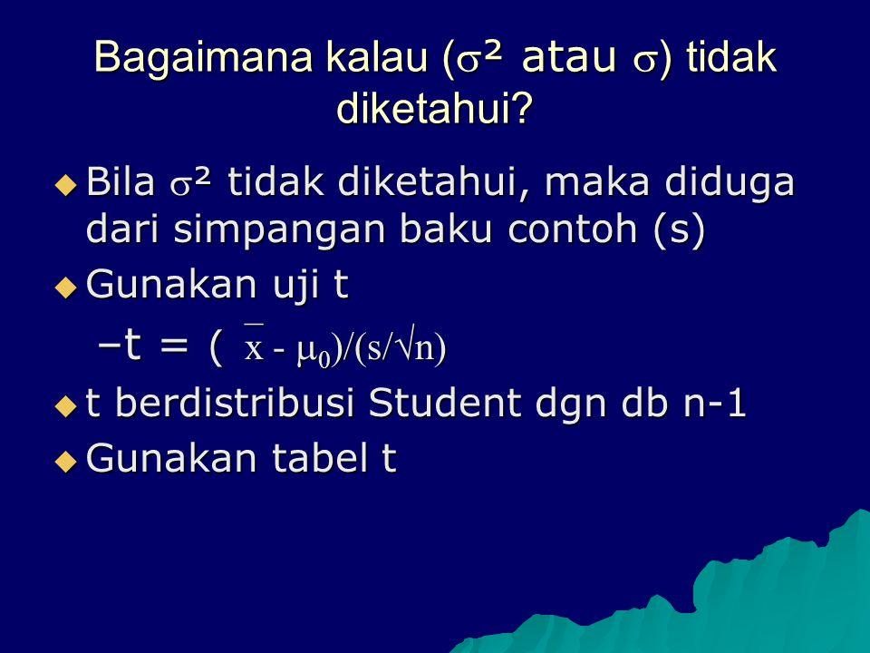 Bagaimana kalau ( ² atau  ) tidak diketahui?  Bila ² tidak diketahui, maka diduga dari simpangan baku contoh (s)  Gunakan uji t –t = ( x -  0 )