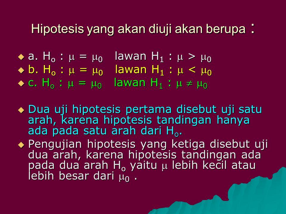 Hipotesis yang akan diuji akan berupa :  a. H o :  =  0 lawan H 1 :  >  0  b. H o :  =  0 lawan H 1 :  <  0  c. H o :  =  0 lawan H 1 : 