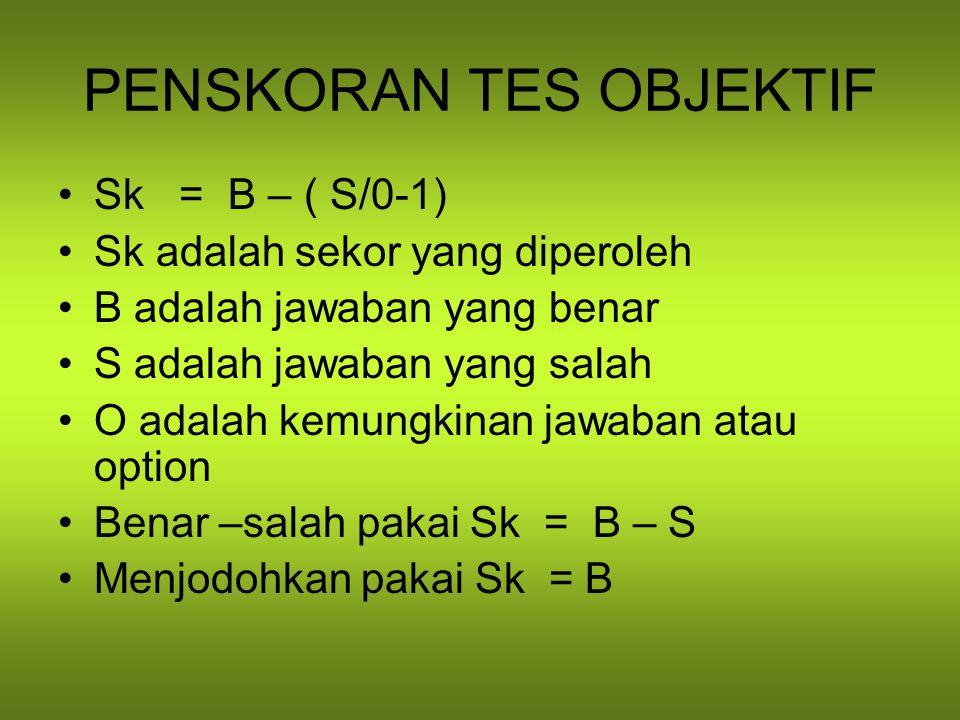 PENSKORAN TES OBJEKTIF Sk = B – ( S/0-1) Sk adalah sekor yang diperoleh B adalah jawaban yang benar S adalah jawaban yang salah O adalah kemungkinan jawaban atau option Benar –salah pakai Sk = B – S Menjodohkan pakai Sk = B
