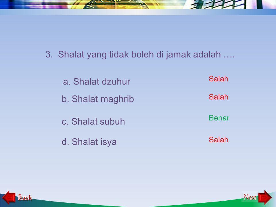 2. Shalat dengan cara menyatukan dua waktu shalat ke dalam satu waktu shalat ke dalam satu shalat, yang dikerjakan dengan cara diringkas, merupakan pe