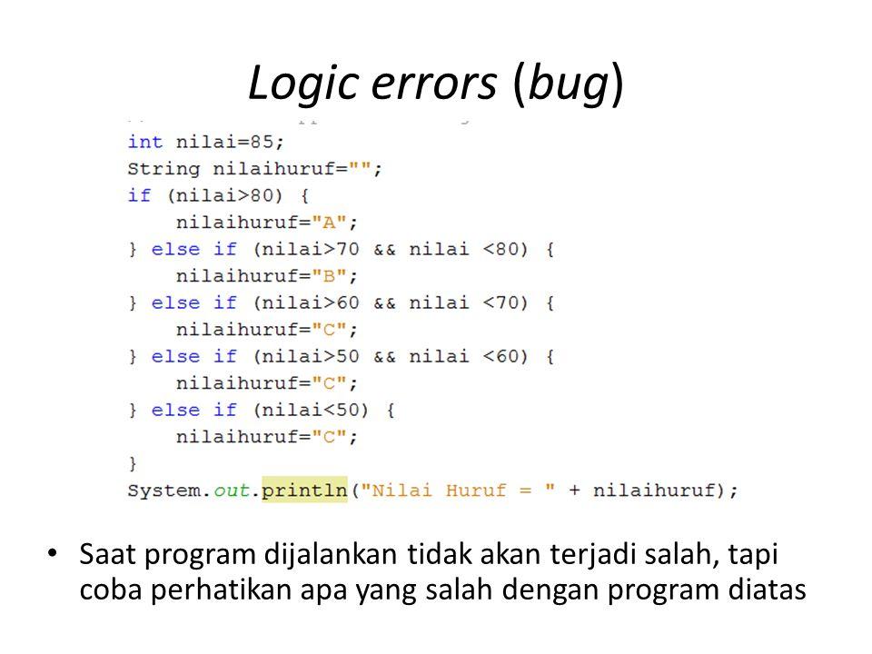 Runtime errors (Exception) Scanner baca = new Scanner(System.in); int bil1 = 0, bil2 = 0; double hasil = 0; int lagi = 1; while (lagi==1){ System.out.print( Masukan bilangan bertama : ); bil1 = baca.nextInt(); System.out.print( Masukan bilangan kedua : ); bil2 = baca.nextInt(); hasil = bil1 / bil2; System.out.println( Hasil bagi adalah : + hasil); System.out.println( ); System.out.print( 1 untuk coba lagi 2 untuk mengakhiri : ); lagi = baca.nextInt(); } Apa yang terjadi jika bilangan pertama diisi 1 dan bilangan kedua diisi dengan 0 (nol) Bagaimana cara mengatasinya ?