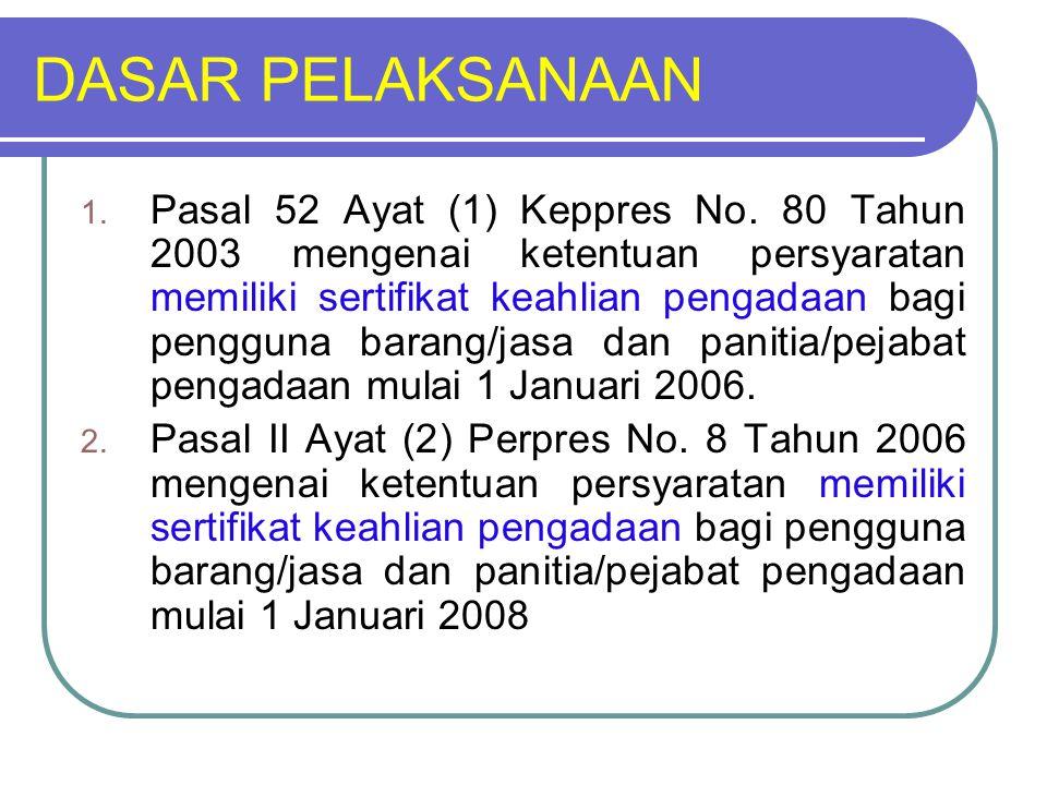 DASAR PELAKSANAAN 1. Pasal 52 Ayat (1) Keppres No. 80 Tahun 2003 mengenai ketentuan persyaratan memiliki sertifikat keahlian pengadaan bagi pengguna b