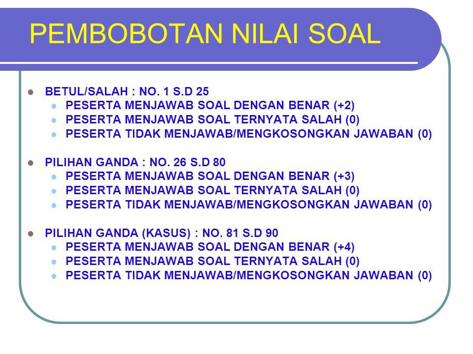 PEMBOBOTAN NILAI SOAL BETUL/SALAH : NO. 1 S.D 25 PESERTA MENJAWAB SOAL DENGAN BENAR (+2) PESERTA MENJAWAB SOAL TERNYATA SALAH (0) PESERTA TIDAK MENJAW