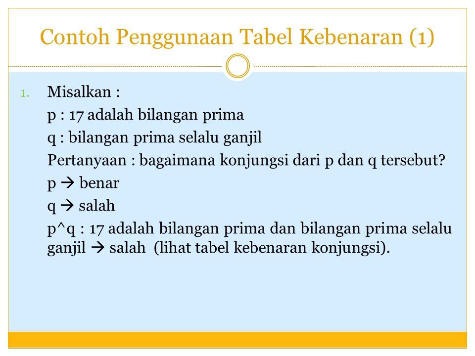 Contoh Penggunaan Tabel Kebenaran (2) 2.