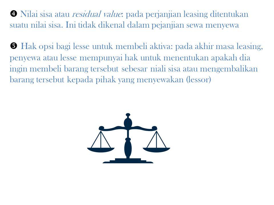 Perbedaan Leasing dengan Jenis Perjanjian Lain Perbedaan dengan Sewa Menyewa  P Pada leasing, masalah jangka waktu perjanjian merupkan fokus utama karena dengan berakhirnya jangka waktu, lesse diberikan hak opsi.