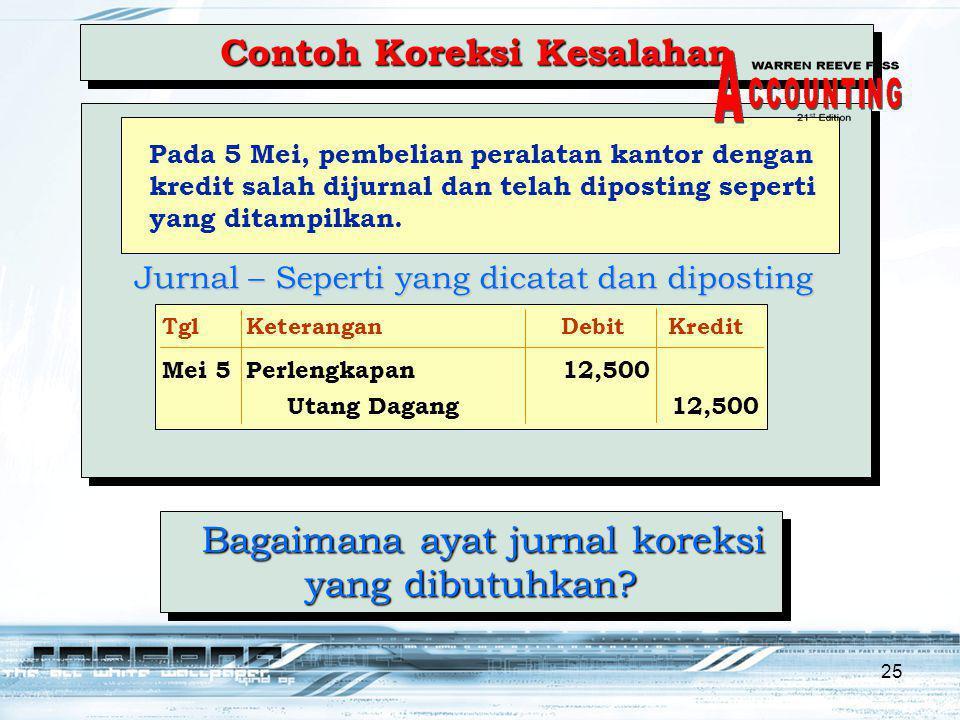 25 Bagaimana ayat jurnal koreksi yang dibutuhkan.Bagaimana ayat jurnal koreksi yang dibutuhkan.