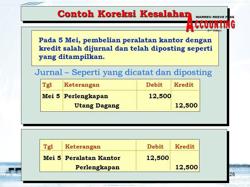 26 Contoh Koreksi Kesalahan Pada 5 Mei, pembelian peralatan kantor dengan kredit salah dijurnal dan telah diposting seperti yang ditampilkan.