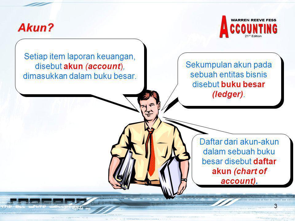 3 Akun.Setiap item laporan keuangan, disebut akun (account), dimasukkan dalam buku besar.