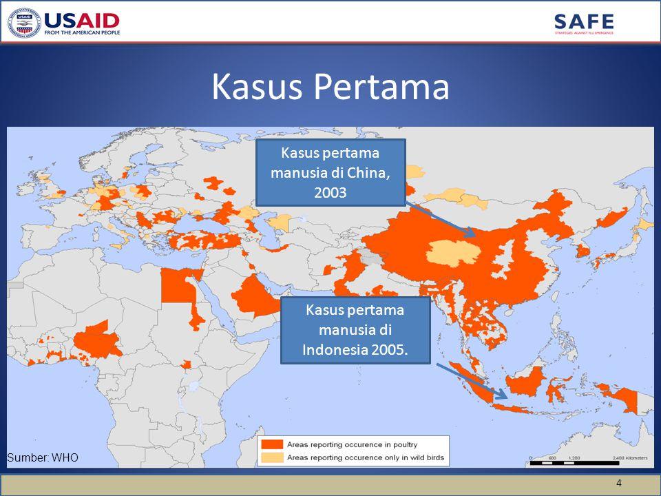 Kasus Pertama 4 Kasus pertama manusia di China, 2003 Kasus pertama manusia di Indonesia 2005.