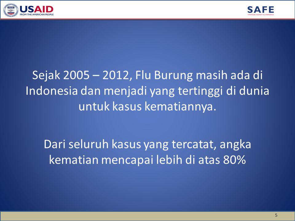 Sejak 2005 – 2012, Flu Burung masih ada di Indonesia dan menjadi yang tertinggi di dunia untuk kasus kematiannya.