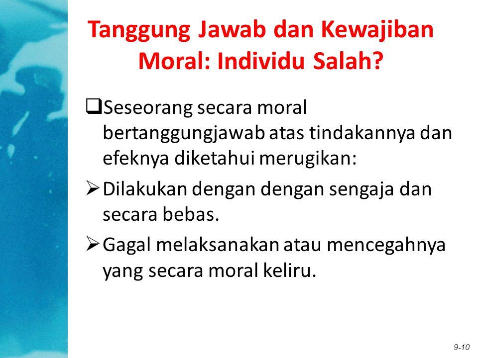 9-10 Tanggung Jawab dan Kewajiban Moral: Individu Salah?  Seseorang secara moral bertanggungjawab atas tindakannya dan efeknya diketahui merugikan: 
