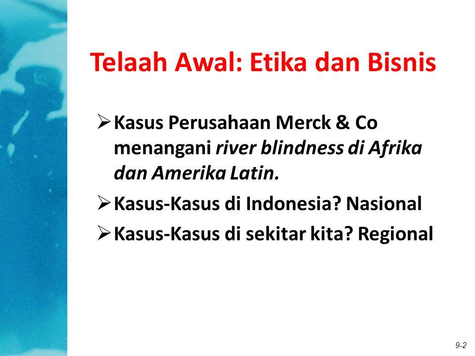 9-2 Telaah Awal: Etika dan Bisnis  Kasus Perusahaan Merck & Co menangani river blindness di Afrika dan Amerika Latin.  Kasus-Kasus di Indonesia? Nas