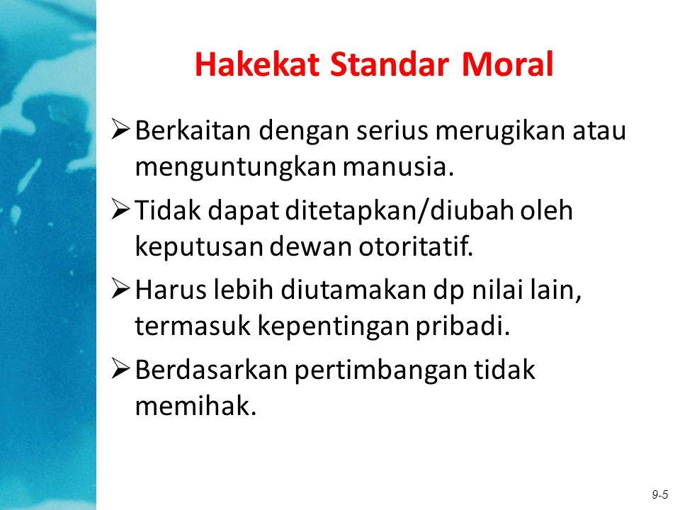 9-5 Hakekat Standar Moral  Berkaitan dengan serius merugikan atau menguntungkan manusia.  Tidak dapat ditetapkan/diubah oleh keputusan dewan otorita