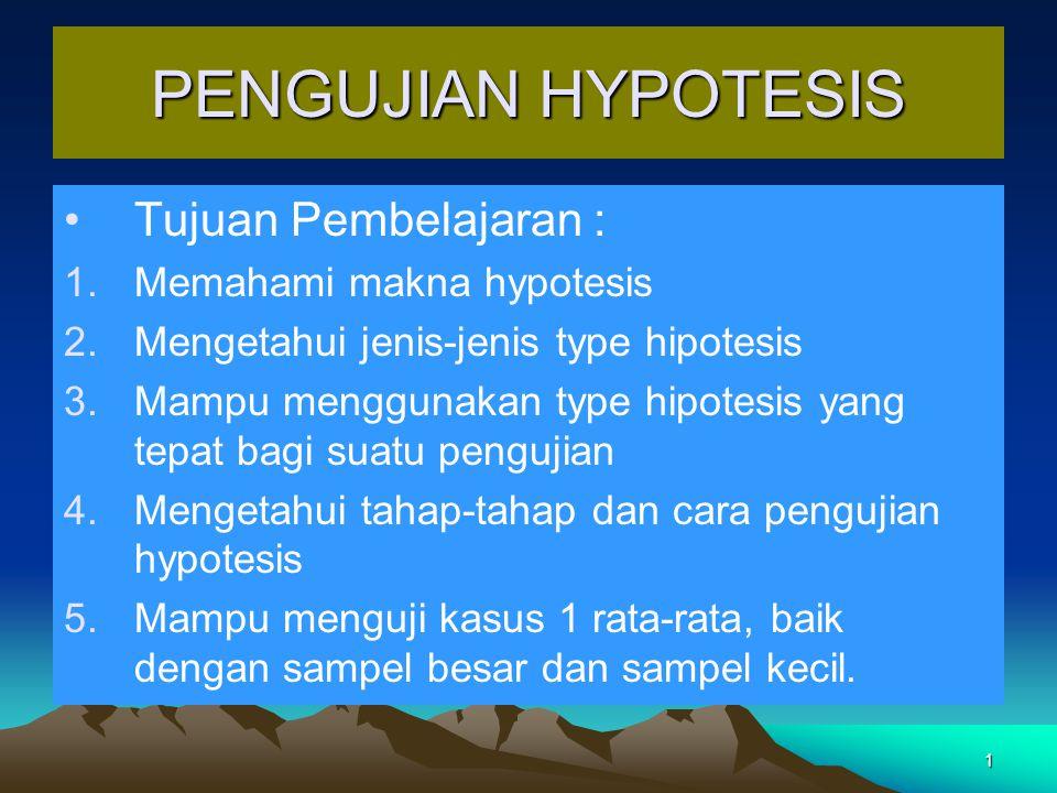 1 PENGUJIAN HYPOTESIS Tujuan Pembelajaran : 1.Memahami makna hypotesis 2.Mengetahui jenis-jenis type hipotesis 3.Mampu menggunakan type hipotesis yang tepat bagi suatu pengujian 4.Mengetahui tahap-tahap dan cara pengujian hypotesis 5.Mampu menguji kasus 1 rata-rata, baik dengan sampel besar dan sampel kecil.
