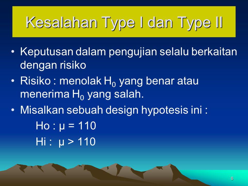 8 Kesalahan Type I dan Type II Keputusan dalam pengujian selalu berkaitan dengan risiko Risiko : menolak H 0 yang benar atau menerima H 0 yang salah.