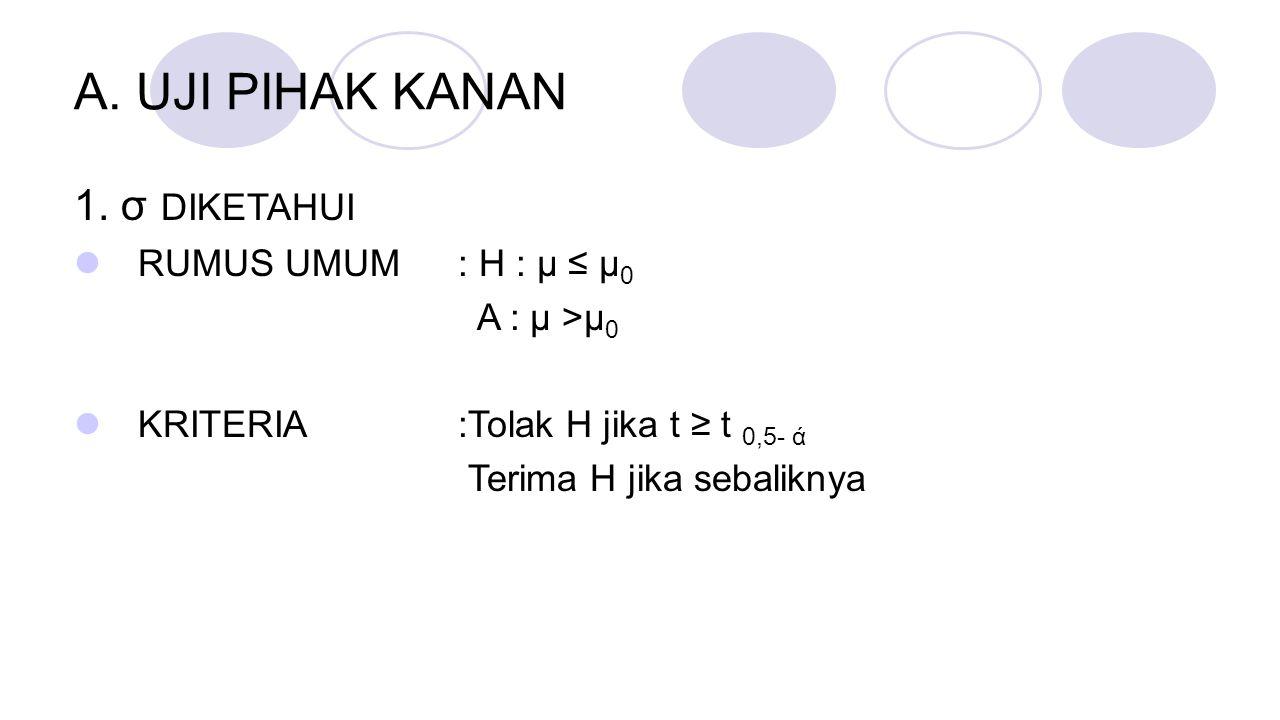 A. UJI PIHAK KANAN 1. σ DIKETAHUI RUMUS UMUM : H : μ ≤ μ 0 A : μ >μ 0 KRITERIA:Tolak H jika t ≥ t 0,5- ά Terima H jika sebaliknya
