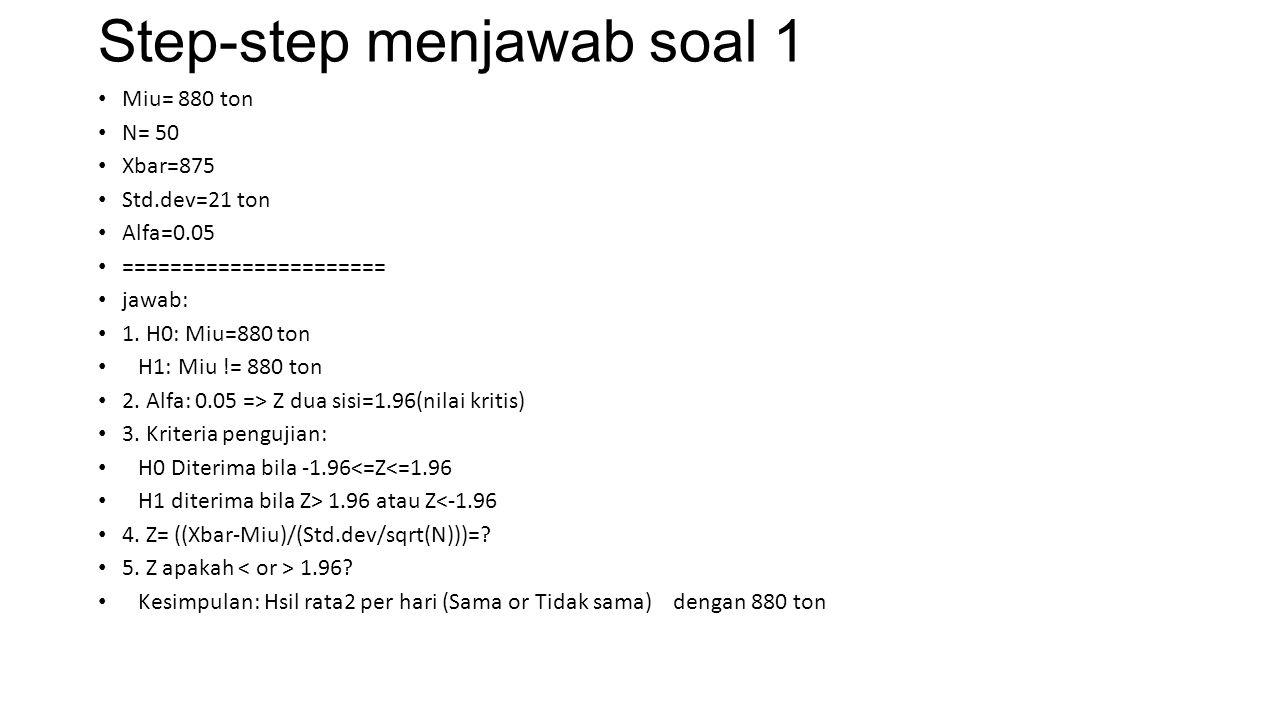 Step-step menjawab soal 1 Miu= 880 ton N= 50 Xbar=875 Std.dev=21 ton Alfa=0.05 ====================== jawab: 1. H0: Miu=880 ton H1: Miu != 880 ton 2.