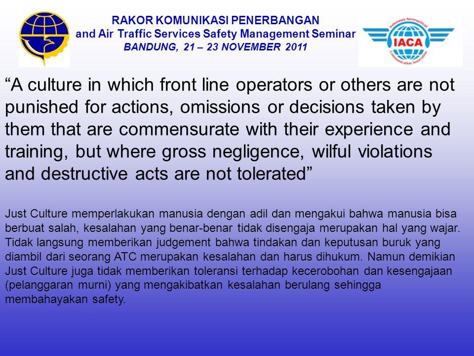 """RAKOR KOMUNIKASI PENERBANGAN and Air Traffic Services Safety Management Seminar BANDUNG, 21 – 23 NOVEMBER 2011 """"A culture in which front line operator"""