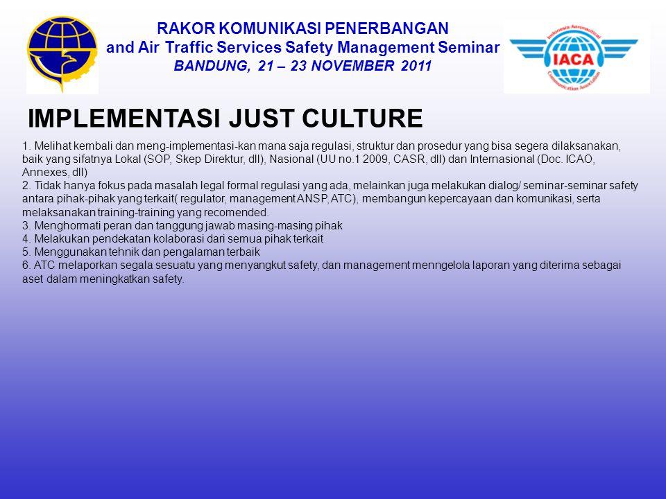 RAKOR KOMUNIKASI PENERBANGAN and Air Traffic Services Safety Management Seminar BANDUNG, 21 – 23 NOVEMBER 2011 IMPLEMENTASI JUST CULTURE 1. Melihat ke