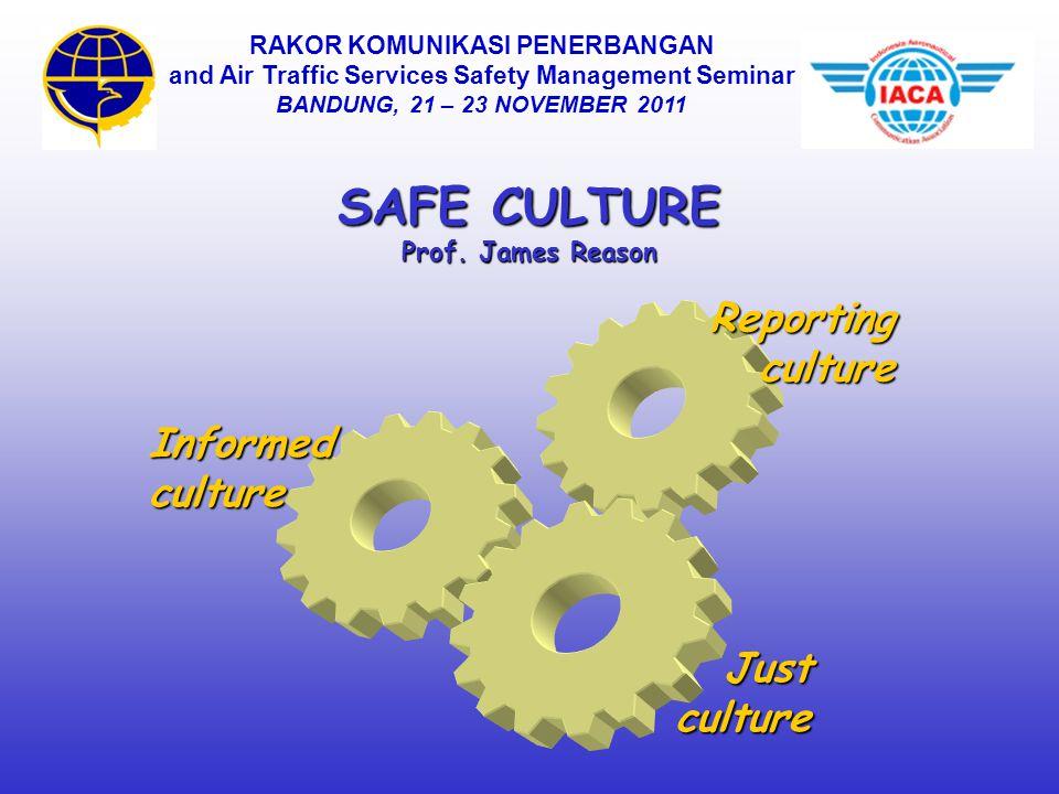 SAFE CULTURE Prof. James Reason Informedculture Justculture Reportingculture RAKOR KOMUNIKASI PENERBANGAN and Air Traffic Services Safety Management S