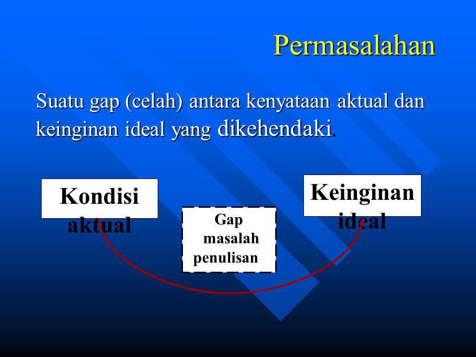 Permasalahan Suatu gap (celah) antara kenyataan aktual dan keinginan ideal yang dikehendaki.