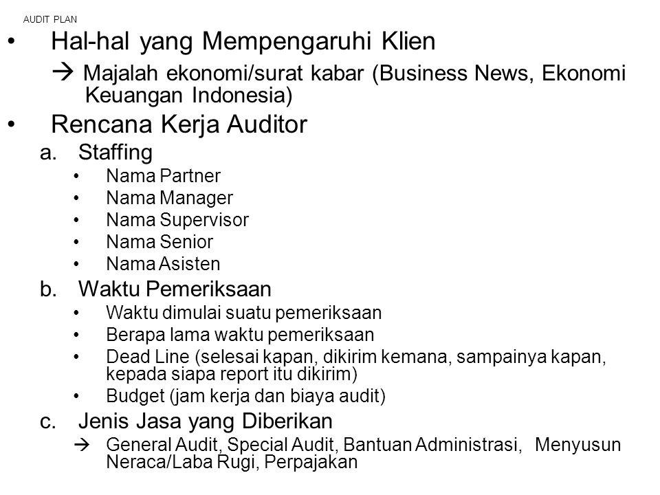 AUDIT PLAN Hal-hal yang Mempengaruhi Klien  Majalah ekonomi/surat kabar (Business News, Ekonomi Keuangan Indonesia) Rencana Kerja Auditor a.Staffing