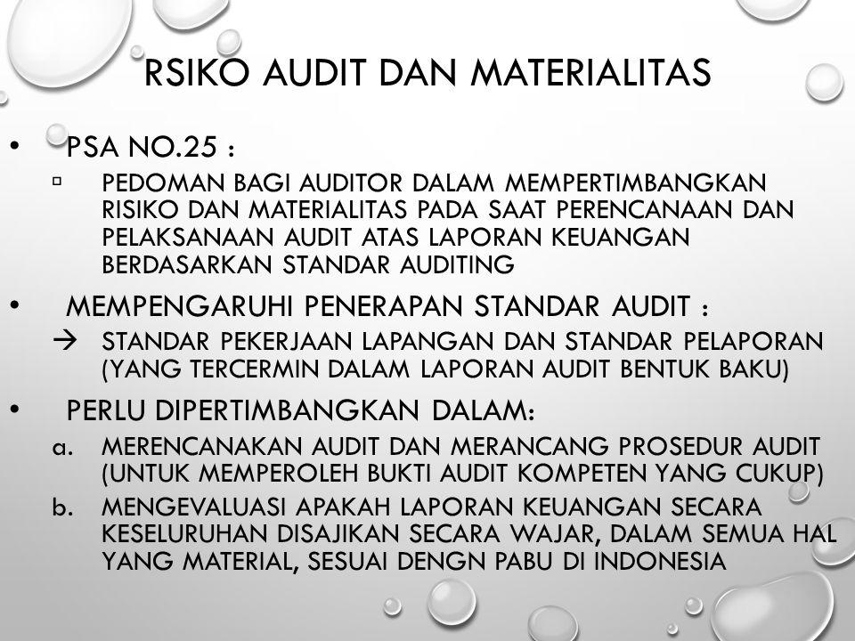 RSIKO AUDIT DAN MATERIALITAS PSA NO.25 :  PEDOMAN BAGI AUDITOR DALAM MEMPERTIMBANGKAN RISIKO DAN MATERIALITAS PADA SAAT PERENCANAAN DAN PELAKSANAAN A
