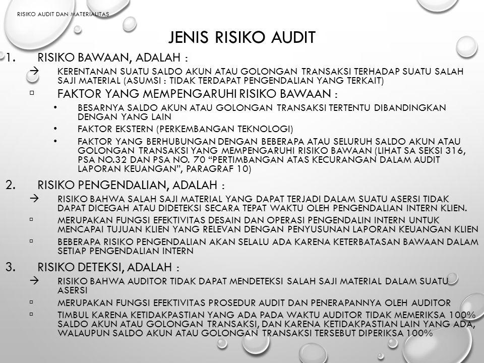 RISIKO AUDIT DAN MATERIALITAS JENIS RISIKO AUDIT 1.RISIKO BAWAAN, ADALAH :  KERENTANAN SUATU SALDO AKUN ATAU GOLONGAN TRANSAKSI TERHADAP SUATU SALAH