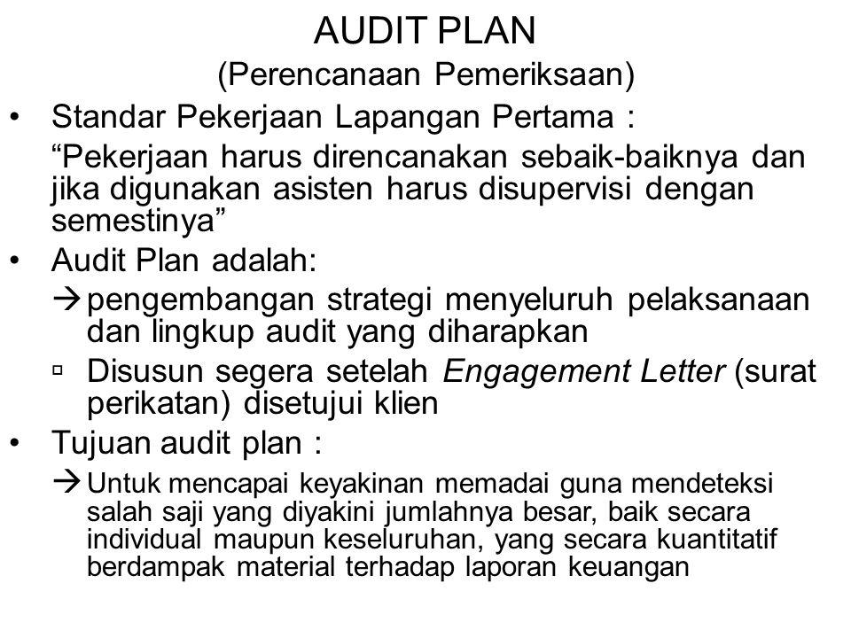 """AUDIT PLAN (Perencanaan Pemeriksaan) Standar Pekerjaan Lapangan Pertama : """"Pekerjaan harus direncanakan sebaik-baiknya dan jika digunakan asisten haru"""